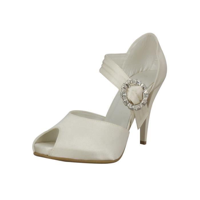 Chaussures de mariée lanière et strass Ivoire... ZcMsb