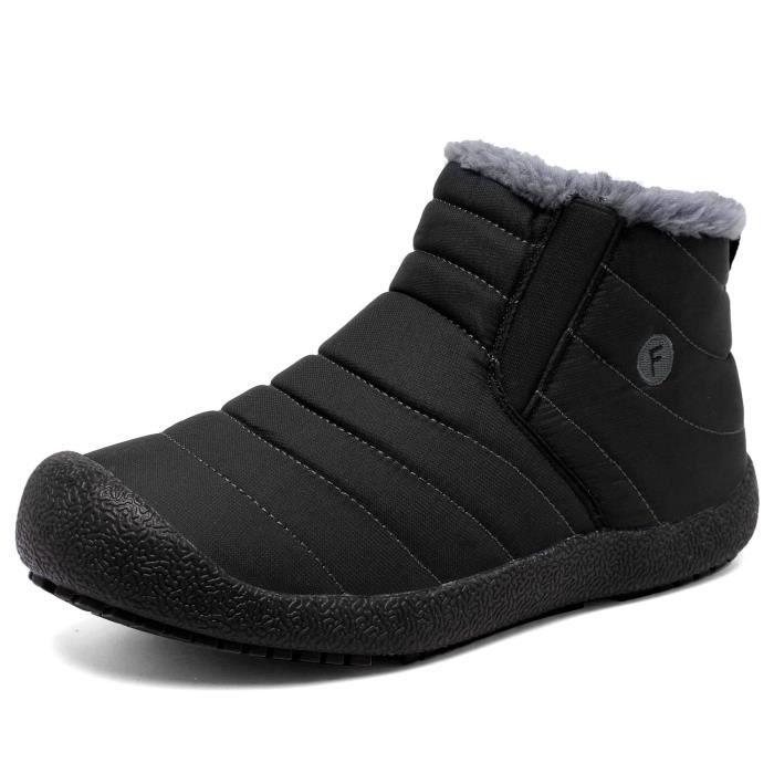 Et Bottes de neige en fourrure d'hiver Bordée d'extérieur Glissement Chaussures Bottines FNAXE Taille-44