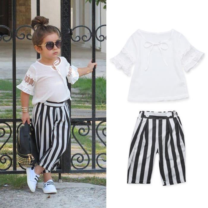 vêtements de sport de performance ordre une autre chance 1-6 Ans Enfant Fille 2 PCS Ensemble Vêtement Tenue Mode : Blouse Blanc +  Patalon à Raies Verticales