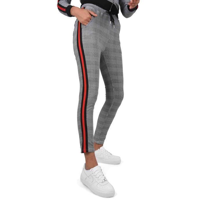 61ba1f4f0f5b Pantalon ajusté imprimé pied-de-poule et rayure à bandes bicolores Femme  Project X Paris (S - Noir-Blanc)