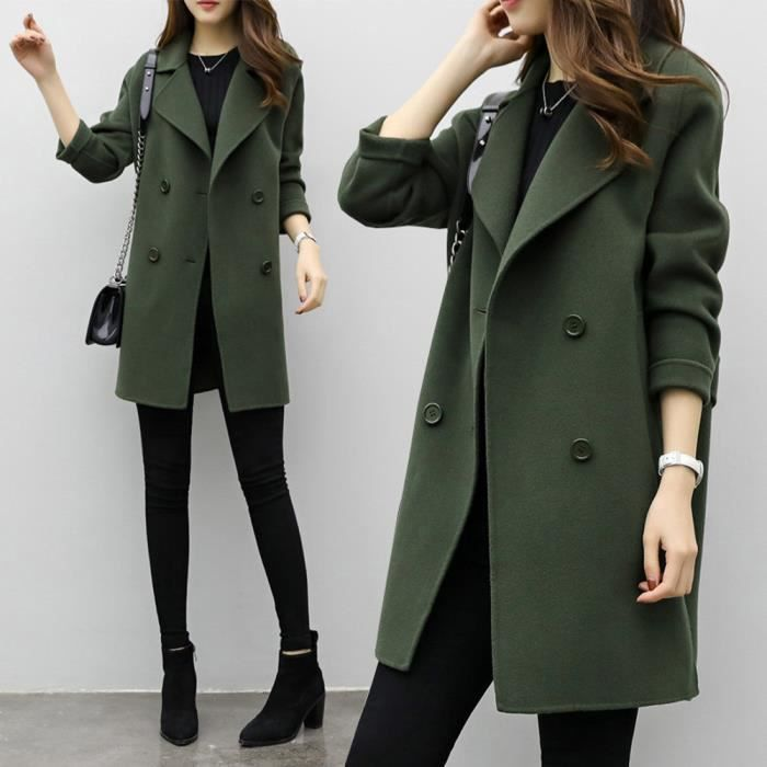 Slim Parka Hiver Casual Veste Verte Pardessus Femmes Cardigan Automne Armée Outwear Manteau wpHX0q