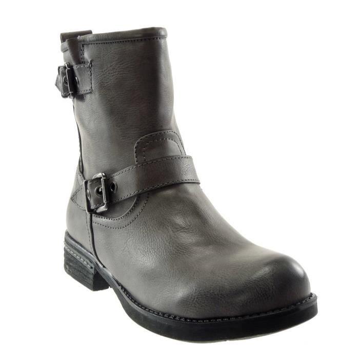 3 Cm Légèrement Boucle Chaussure T Intérieur Angkorly Gris Talon Femme Bloc Mode C381 Fourrée Botte Lanière Motard Bottine YvO4qPxwO