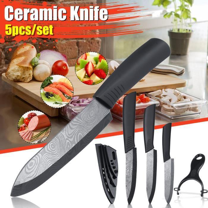COUTEAU DE CUISINE  NEUFU 5pcs Kit de Couteaux en Céramique avec Couve