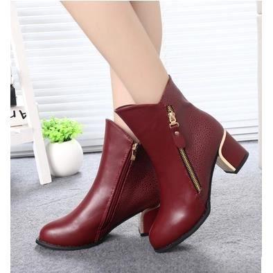 Les nouvelles bottes femmes épais avec Martin bottes Duantong bottes de chaussures pour femmes, rouge 38