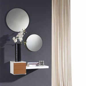 MEUBLE D'ENTRÉE Meuble d\'entrée Noyer + miroir - TIGA