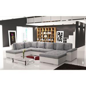 CANAPÉ - SOFA - DIVAN Grand canapé en U gris et blanc SMILE 6 à 7 places