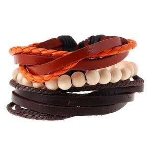 BRACELET - GOURMETTE BRACELET 3 poches en bois perles en bois pu bracel