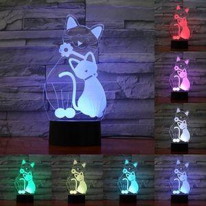 LAMPE A POSER Enfants De Chambre éclairage Chat 3D Lumière De Nu