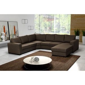 canap d 39 angle 6 places marron pas cher achat vente canap sofa divan cdiscount. Black Bedroom Furniture Sets. Home Design Ideas
