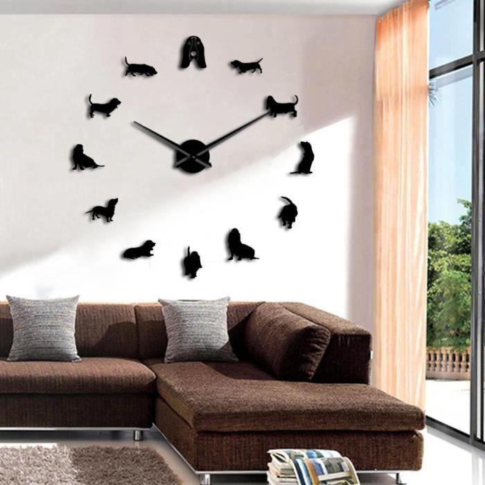 Horloge Murale-37 Inch-basset Hound-noir-adorable Différentes Races Chiens Grand Mur Art Décor La Maison Chenil Clubs Bricolage