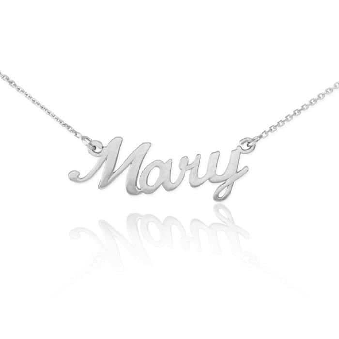 Pendentif 14 ct or blanc 585/1000 de scriptnom de Marie