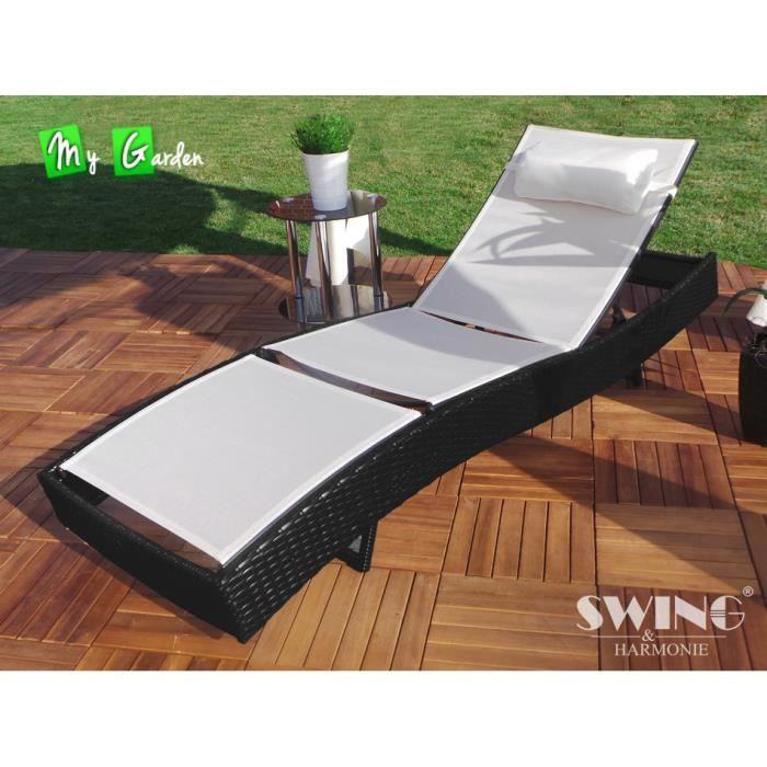 chaise longue relax de jardin bain de soleil rotin achat. Black Bedroom Furniture Sets. Home Design Ideas