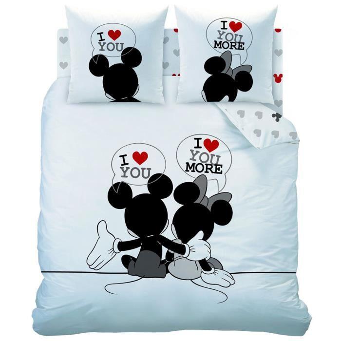 Parure de lit Mickey et Minnie 240 cm.   Achat / Vente parure de