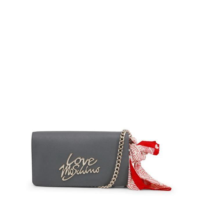 Petit sac bandoulière gris détail Love Moschino doré Gris