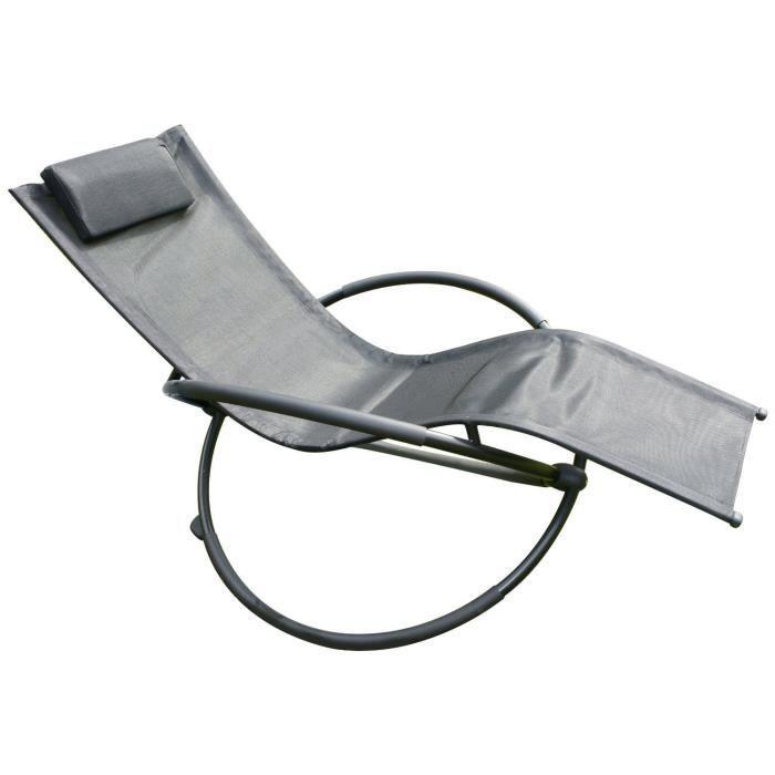 Transat de jardin SWING noir 406 - Achat / Vente chaise longue ...