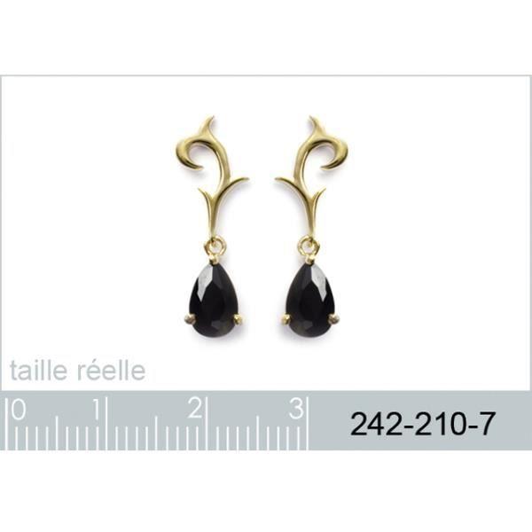 Boucles doreilles plaqué or et pierre ovale noire