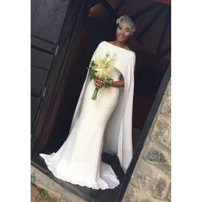 Robe De Mariage Trainée Sirène Col Bateau Avec Cape Longue Unique Sexy Fourreau Simple Blanc