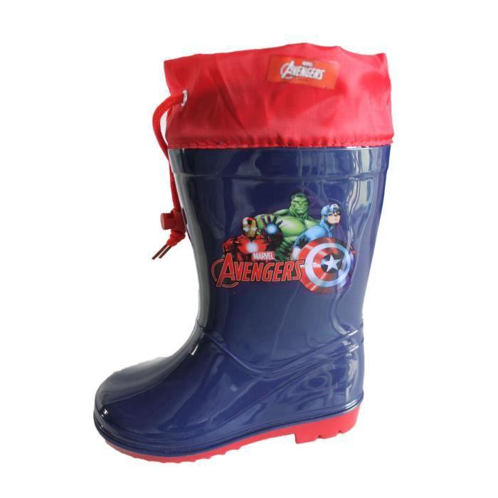 bottes de pluie avangers bleu foncé et rouge