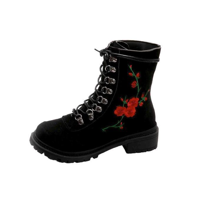 Napoulen®Mode automne hiver talon plat bottes plate-forme épaisse lacets pour femmes Noir-CQQ70831343BK ayjHfeQ