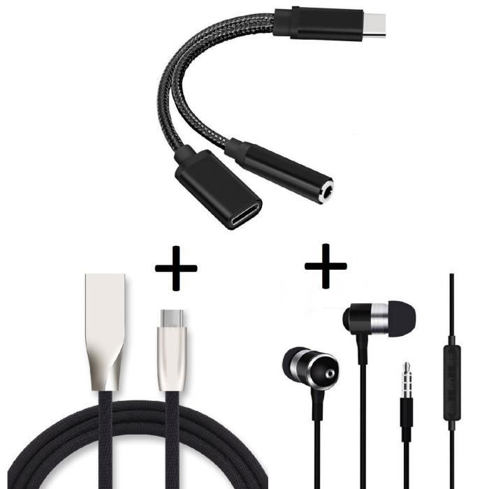 Oem - Pack Pour Nubia Z11 (adaptateur Type C/jack Cable Fast Charge C Ecouteurs Metal) (noir)