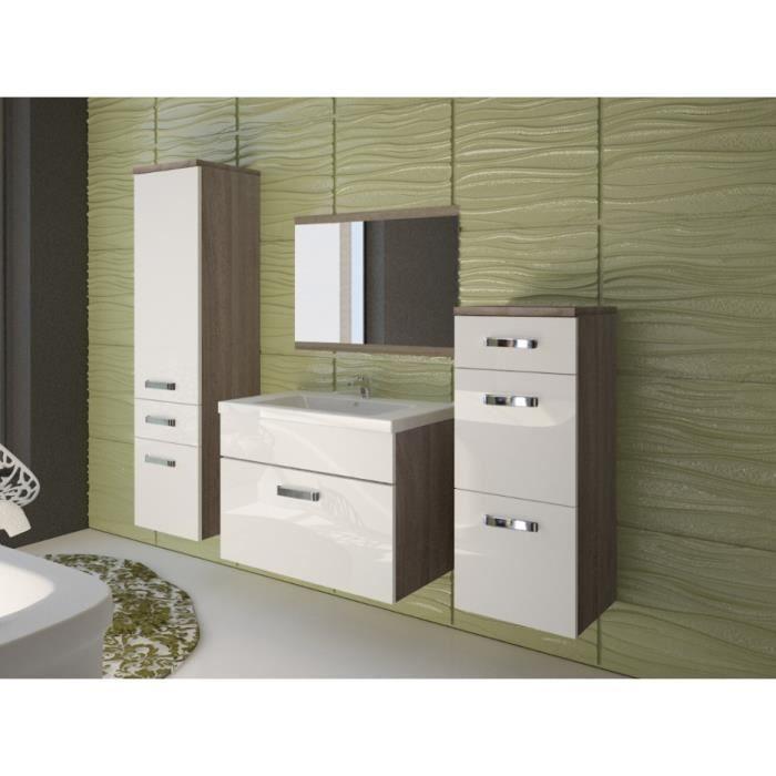 Ensemble NASSAU - meubles de salle de bain - laqué blanc et bois ...