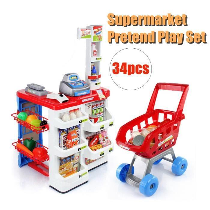 feabd62def38a TEMPSA Set Jouet Enfant Chariot Simulation Supermarché Achats Caisse Magasin  Jeu de Rôle Aliments dînette