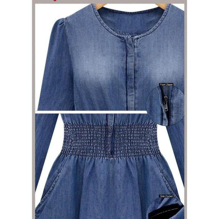 Jeans Femme Robes à manches longues Slim Casual Denim Robe Robes