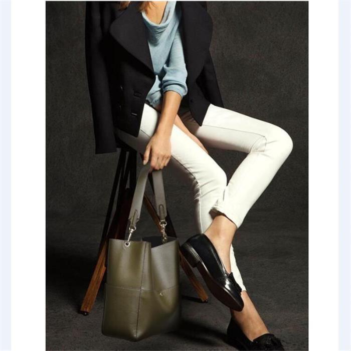 Sac À Main Femme Casual Simple Multi-Fonctionnel En Cuir Véritable Femmes sac à main de marque luxe cuir 2017 Nouvelle Mode blanc