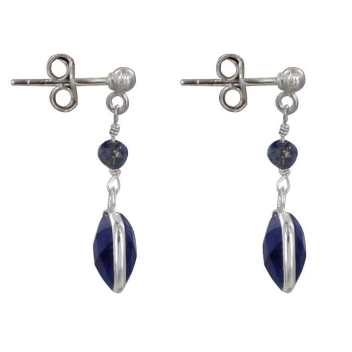 Les Poulettes Bijoux - Boucles dOreilles Argent Perle et Pavé de Lapis Lazuli Facetté