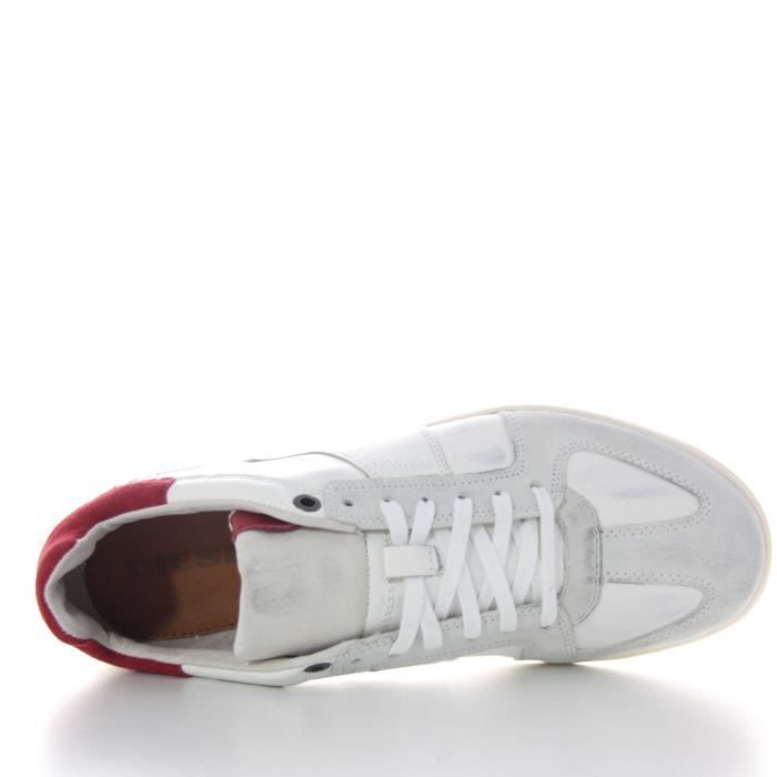DIESEL baskets cuir CHILL OUT blanc