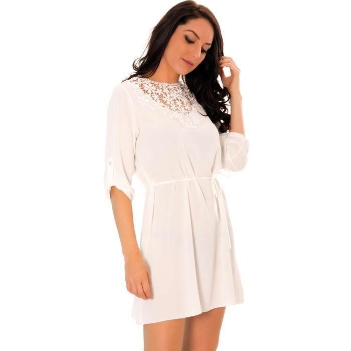 f9438cff7fc ... Miss Wear Line - Petite robe blanche avec détails brodés