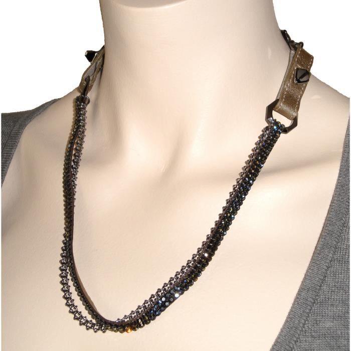 Collier Swarovski cristaux noirs et dorés en coffret (BJC0238)