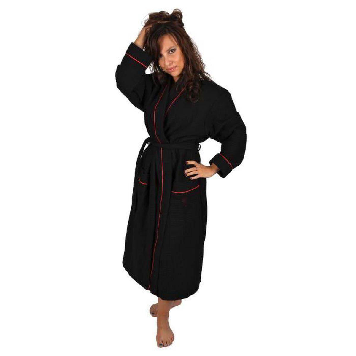 peignoir noir femme achat vente peignoir noir femme pas cher cdiscount. Black Bedroom Furniture Sets. Home Design Ideas