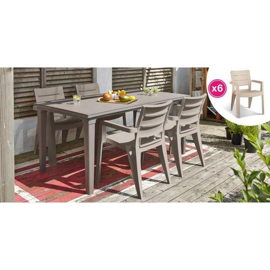 Salon de jardin: table cappuccino + 6 fauteuils cappuccino