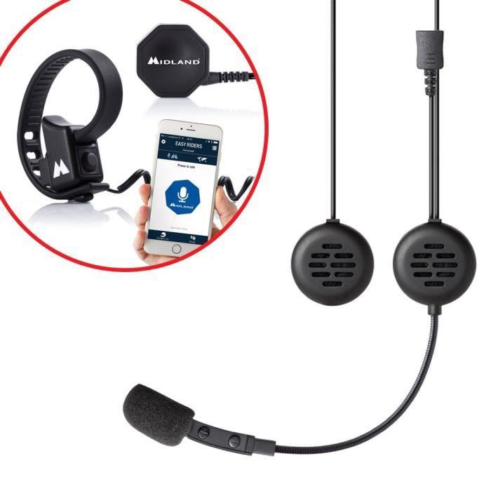 MIDLAND Intercom de 2 personnes 200 mètres avec alerte vocale pour casque JET + Boutton sans fil Push to talk
