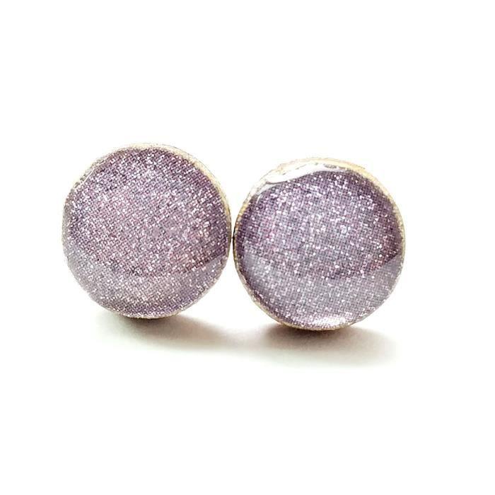 Étincelle Light Purple Lavande femmes Bois Boucles doreilles en acier chirurgical Poste R3FGA