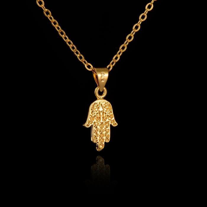 Collier main de fatma or jaune lamin 24 carats achat vente sautoir et collier collier main - Bougie main de fatma ...