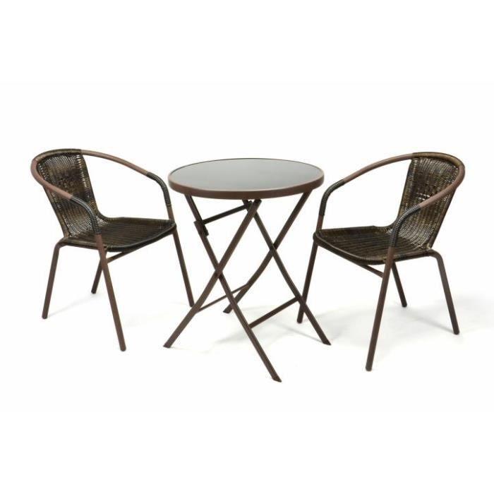 2 chaises Bistro empilable + table pliante ronde verre noir - Achat ...