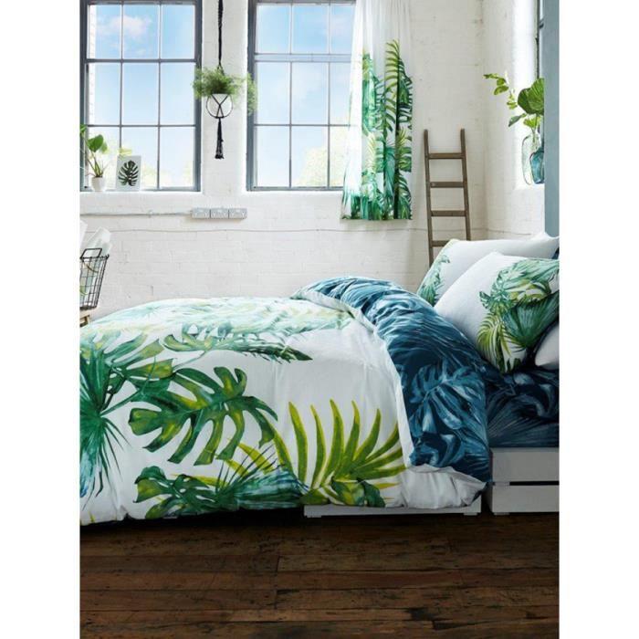 feuilles de palmier botaniques housse de couette et taie d 39 oreiller king size achat vente. Black Bedroom Furniture Sets. Home Design Ideas