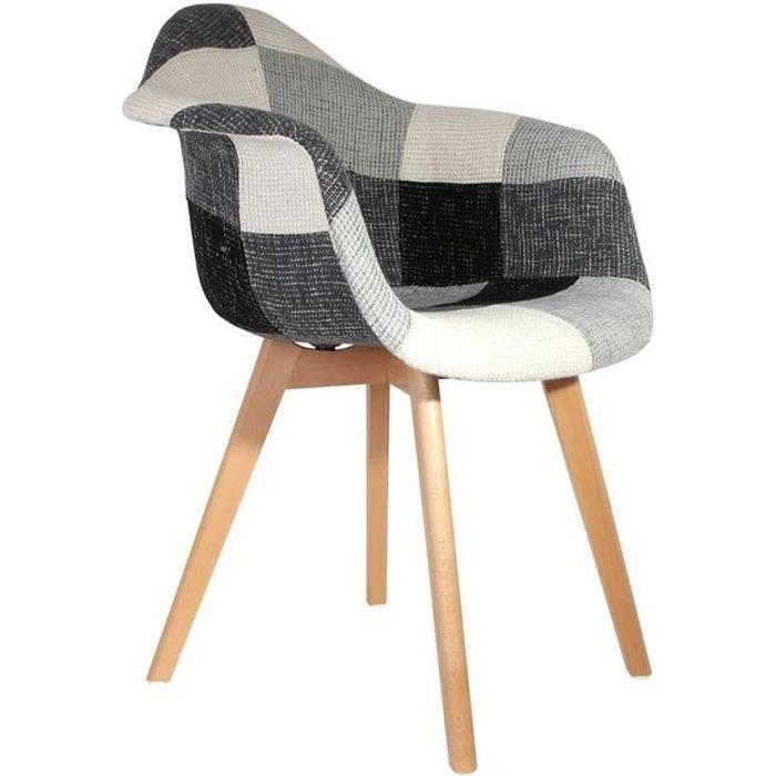 fauteuil fauteuil scandinave patchwork gris autres gris bl - Fauteuil Scandinave Patchwork