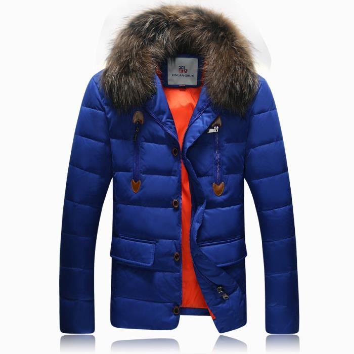 photos officielles 15abf 8a8c8 Parka Homme doudoune grosse fourrure manteau ho... Bleu ...