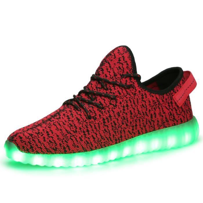 HommeFemme 7 Couleur USB Charge LED Lumière Lumineux Clignotants Chaussures de Sports Baskets Rouge XSCihOi