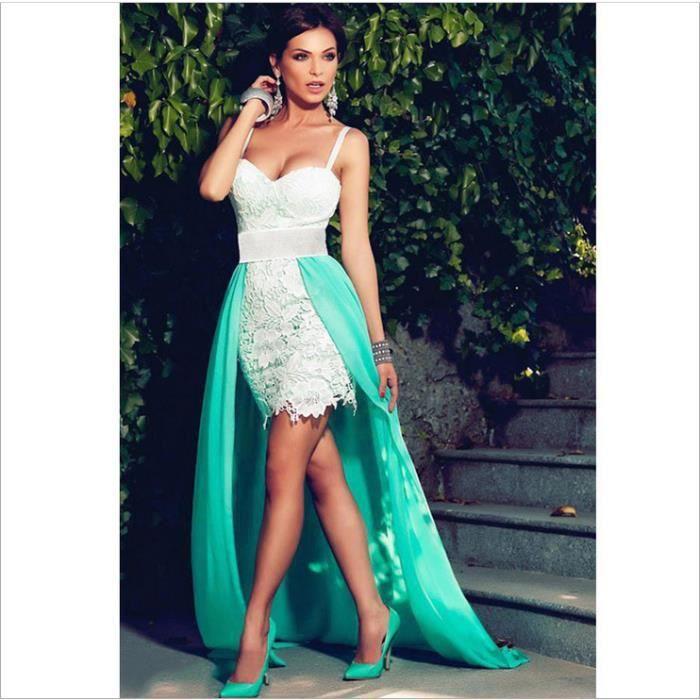 Europe et les États-Unis robe de soirée élégante col en V sans manches sexy nouilles boucles robe de queue robe jupe