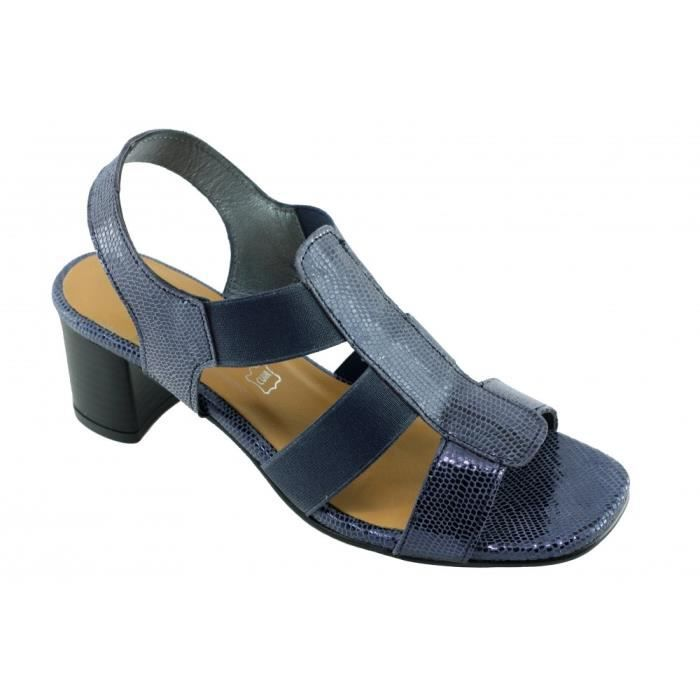 Janita – sandale élastiquée talon stable chaussures Femme marques Angelina cuir lézard bleu hZ4m4CPiMD