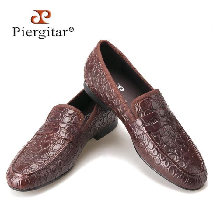 2017 New Style Marbre embosser Brown en cuir véritable Mocassins Hommes Chaussures Casual Flats Men Plus Size