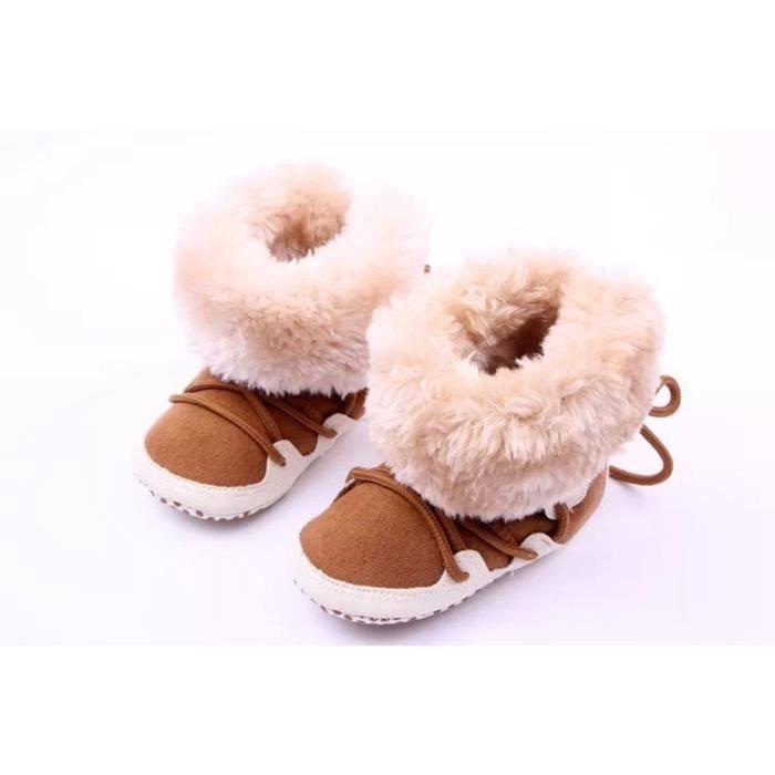 Jeune fille enfant garçon chaud crochet tricot molleton botte de neige chaussures d'hiver bottes café