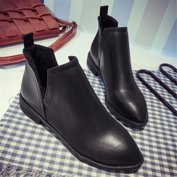 Bottine Femmes Nouvelle arrivee Meilleure Qualité Couleur unie Noir Botte Mode Elégant Chaussure Confortable Classique Rétro 35-39 XnAClpi2