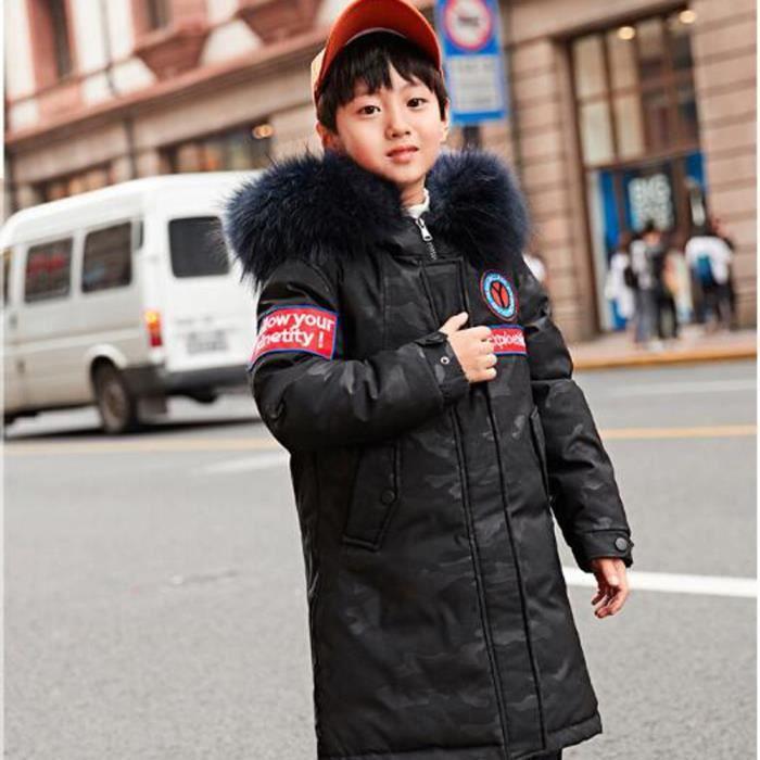 fe959130a524c Nouveau Doudoune Garçon Vêtement Mi-Longue Blouson Manteau Enfant Rembourré  Camouflage avec Capuche Fourrure Automne Hiver 6-14 ans