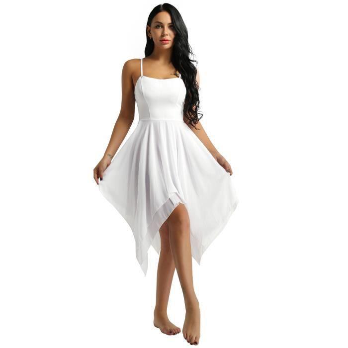 fdb16ed1487d6e Asymétrique Robe de Soirée Femme Bretelles Robe de Cocktail Robe de Ballet  Danse Classique Femmes Robe Latine Jazz Spectacle S-2XL
