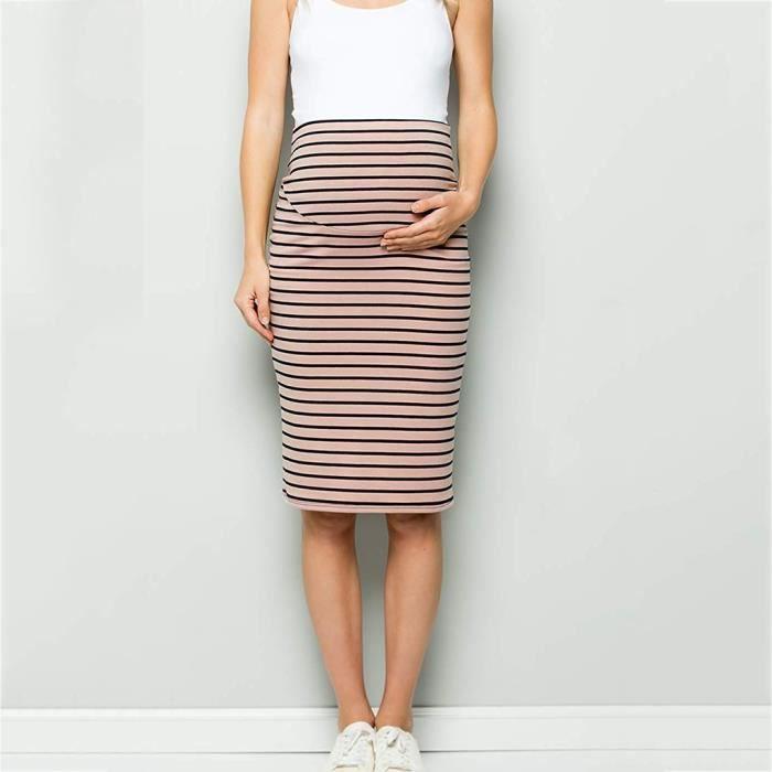 La Haute Jupe Crayon Maternité Tummy Taille Contrôle Confort Rose Stripe Les De Femmes PYEBqpwvv1